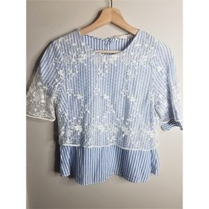 ⚡ 2 for $30⚡Zara Striped Lace Overlay Top